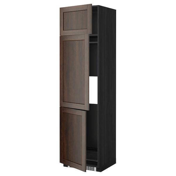 METOD High cab f fridge/freezer w 3 doors, black/Edserum brown, 60x60x220 cm