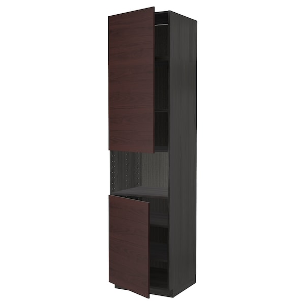 METOD High cab f micro w 2 doors/shelves, black Askersund/dark brown ash effect, 60x60x240 cm