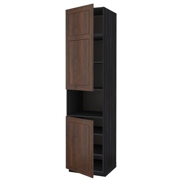 METOD خزانة عالية لميكروويف مع بابين/أرفف, أسود/Edserum بني, 60x60x240 سم