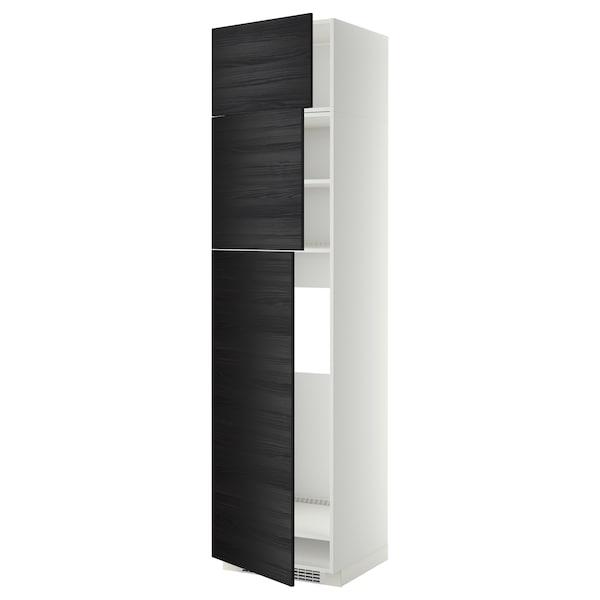 METOD خزانة عالية لثلاجة مع 3 أبواب, أبيض/Tingsryd أسود, 60x60x240 سم