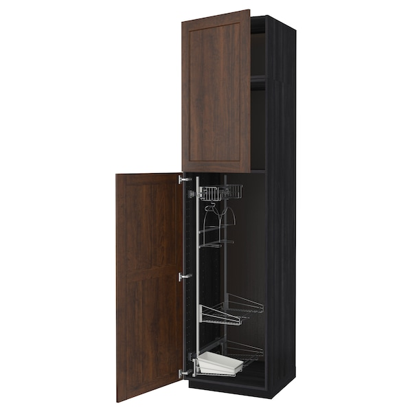 METOD High cabinet with cleaning interior, black/Edserum brown, 60x60x240 cm