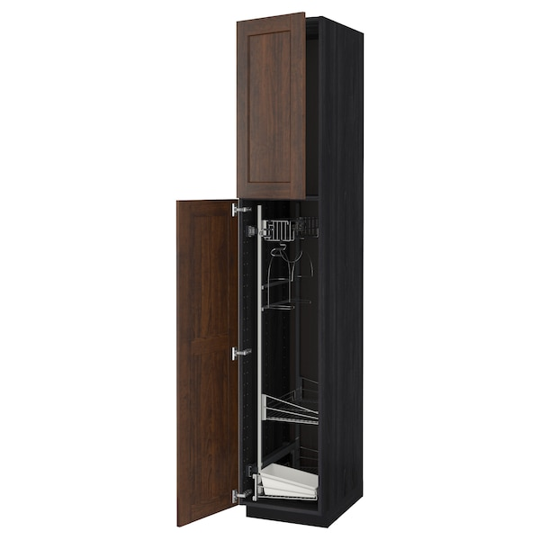 METOD High cabinet with cleaning interior, black/Edserum brown, 40x60x220 cm