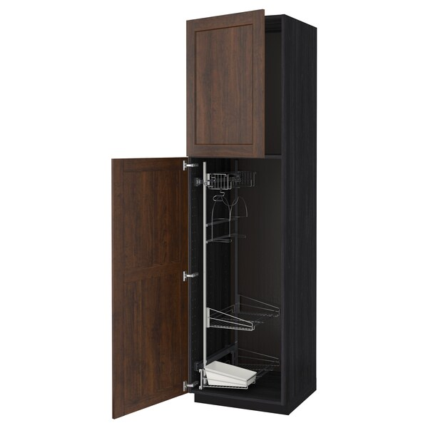 METOD High cabinet with cleaning interior, black/Edserum brown, 60x60x220 cm