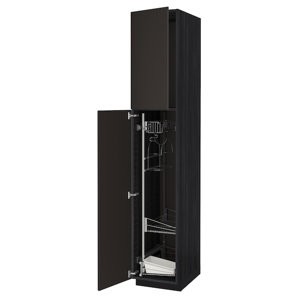 METOD High cabinet with cleaning interior, black/Kungsbacka anthracite, 40x60x220 cm