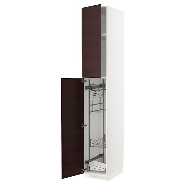 METOD High cabinet with cleaning interior, white Askersund/dark brown ash effect, 40x60x240 cm