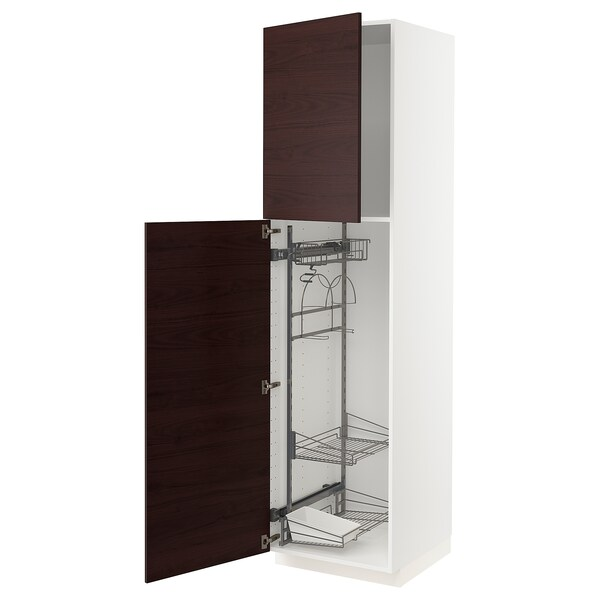 METOD High cabinet with cleaning interior, white Askersund/dark brown ash effect, 60x60x220 cm