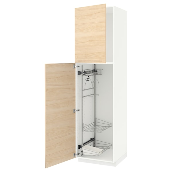 METOD High cabinet with cleaning interior, white/Askersund light ash effect, 60x60x220 cm