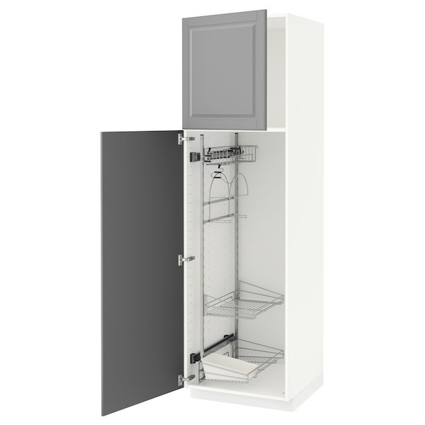 METOD High cabinet with cleaning interior, white/Bodbyn grey, 60x60x200 cm