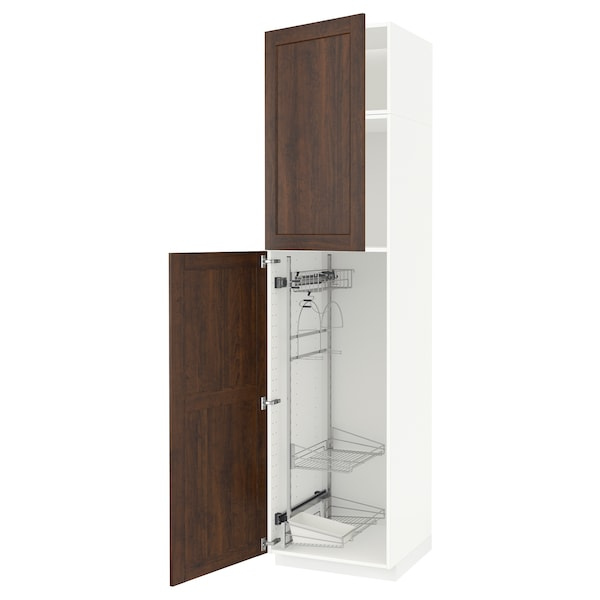 METOD High cabinet with cleaning interior, white/Edserum brown, 60x60x240 cm