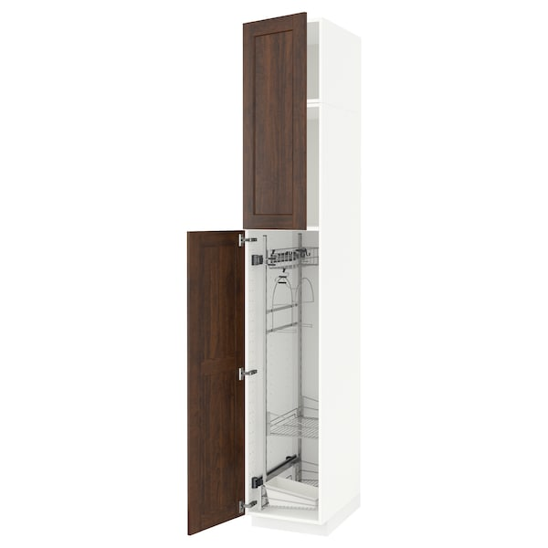 METOD High cabinet with cleaning interior, white/Edserum brown, 40x60x240 cm