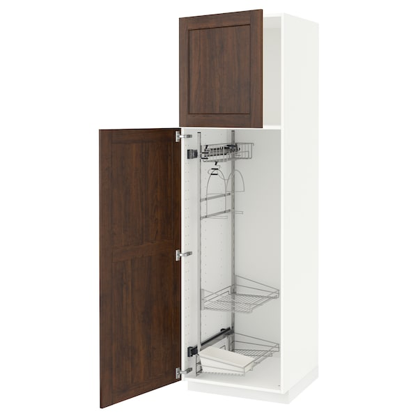 METOD High cabinet with cleaning interior, white/Edserum brown, 60x60x200 cm