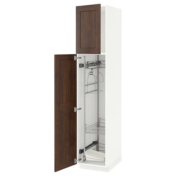 METOD High cabinet with cleaning interior, white/Edserum brown, 40x60x200 cm