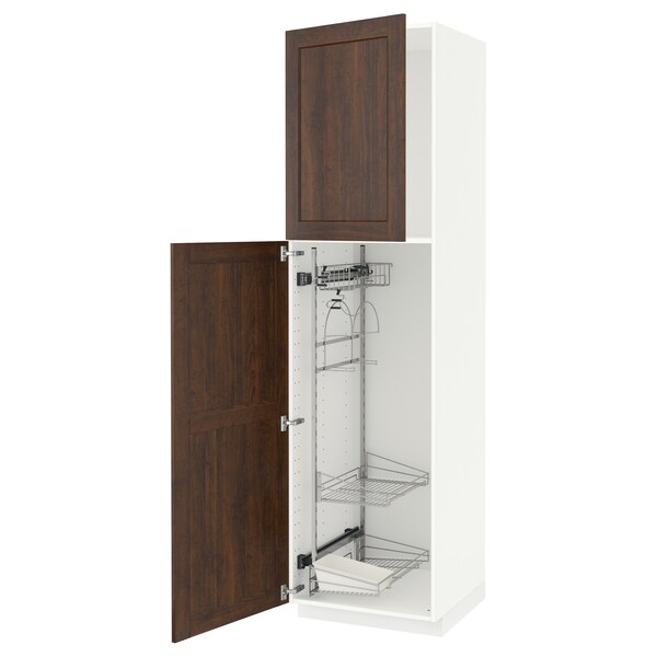 METOD High cabinet with cleaning interior, white/Edserum brown, 60x60x220 cm