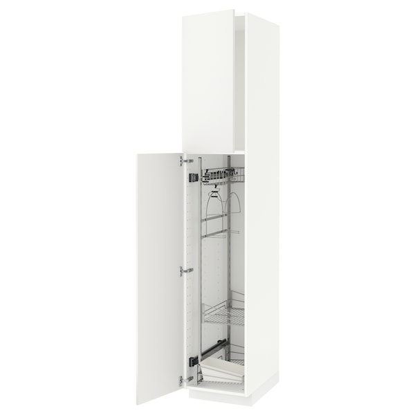 METOD High cabinet with cleaning interior, white/Häggeby white, 40x60x220 cm