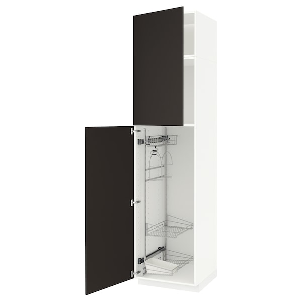 METOD High cabinet with cleaning interior, white/Kungsbacka anthracite, 60x60x240 cm