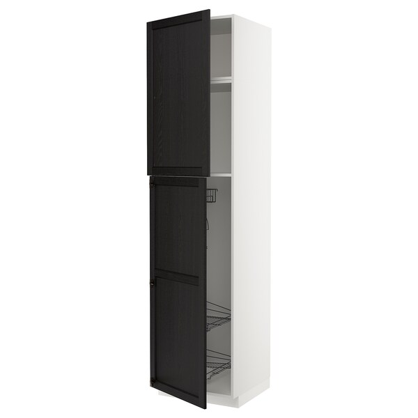 Metod High Cabinet With Cleaning Interior White Lerhyttan Black