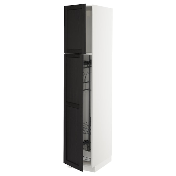METOD High cabinet with cleaning interior, white/Lerhyttan black stained, 40x60x200 cm