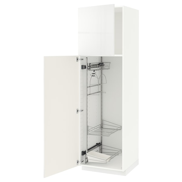 METOD High cabinet with cleaning interior, white/Ringhult white, 60x60x200 cm
