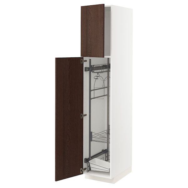 METOD High cabinet with cleaning interior, white/Sinarp brown, 40x60x200 cm