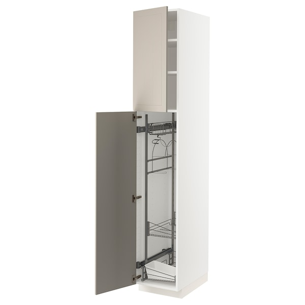 METOD High cabinet with cleaning interior, white/Stensund beige, 40x60x220 cm