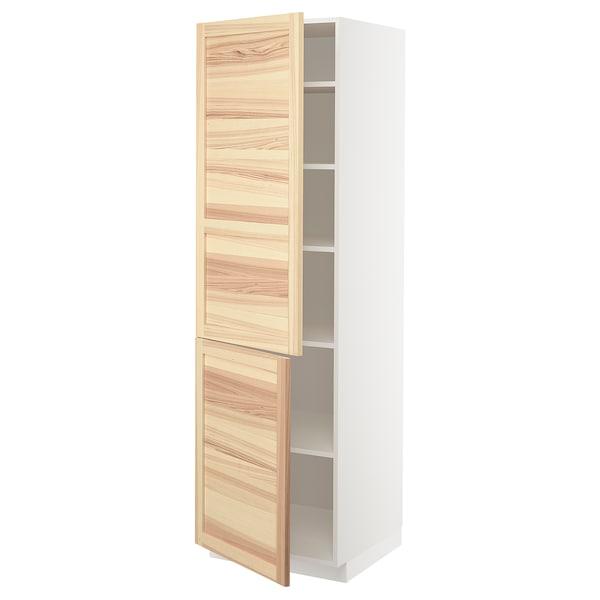METOD خزانة مرتفعة مع أرفف/بابين, أبيض/Torhamn رماد, 60x60x200 سم