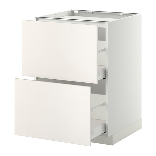 METOD/MAXIMERA Base cab f hob/2 fronts/2 drawers   The drawers close slowly, quietly and softly thanks to the built-in dampers.