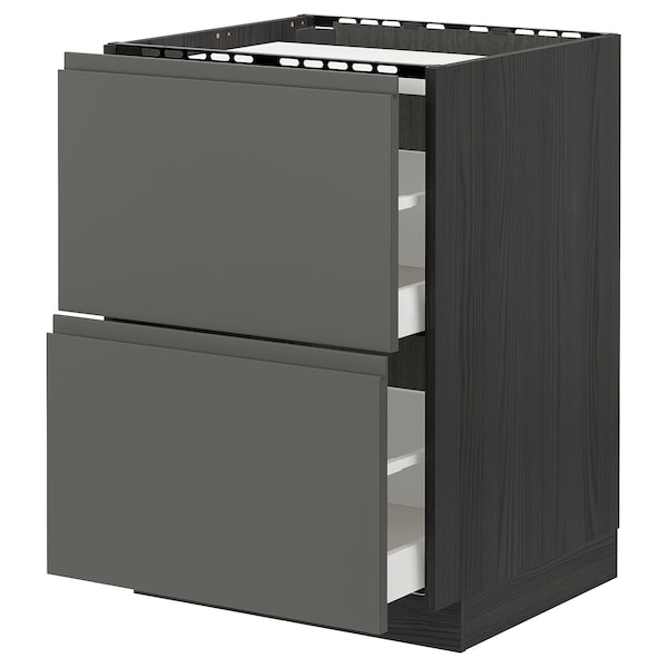 METOD / MAXIMERA Base cab f hob/2 fronts/2 drawers, black/Voxtorp dark grey, 60x60 cm