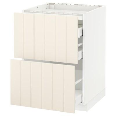 METOD / MAXIMERA Base cab f hob/2 fronts/3 drawers, white/Hittarp off-white, 60x60 cm