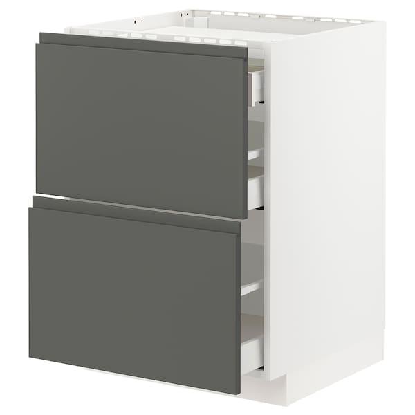 METOD / MAXIMERA Base cab f hob/2 fronts/3 drawers, white/Voxtorp dark grey, 60x60 cm