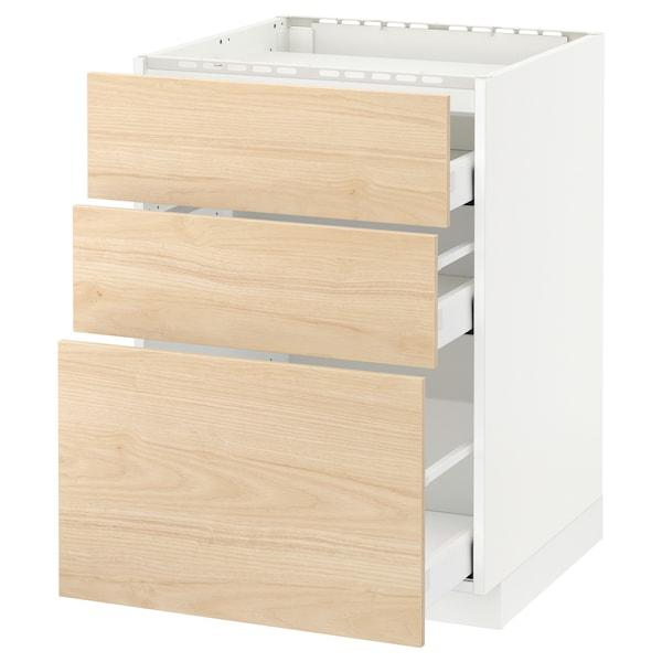 METOD / MAXIMERA Base cab f hob/3 fronts/3 drawers, white/Askersund light ash effect, 60x60 cm