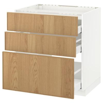 METOD / MAXIMERA Base cab f hob/3 fronts/3 drawers, white/Ekestad oak, 80x60 cm
