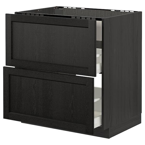METOD / MAXIMERA Base cab f hob/int extractor w drw, black/Lerhyttan black stained, 80x60 cm