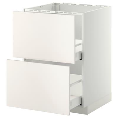 METOD / MAXIMERA خ. قاعدة لحوض+2 واجهة/2أدراج, أبيض/Veddinge أبيض, 60x60 سم