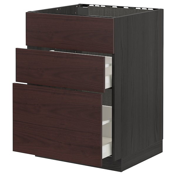 METOD / MAXIMERA Base cab f sink+3 fronts/2 drawers, black Askersund/dark brown ash effect, 60x60 cm