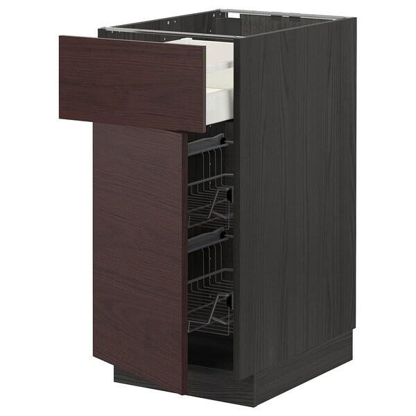 METOD / MAXIMERA Base cab w wire basket/drawer/door, black Askersund/dark brown ash effect, 40x60 cm