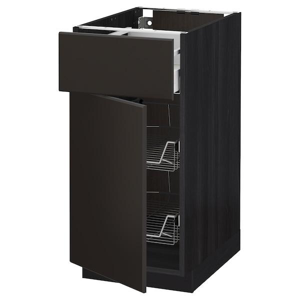 METOD / MAXIMERA Base cab w wire basket/drawer/door, black/Kungsbacka anthracite, 40x60 cm
