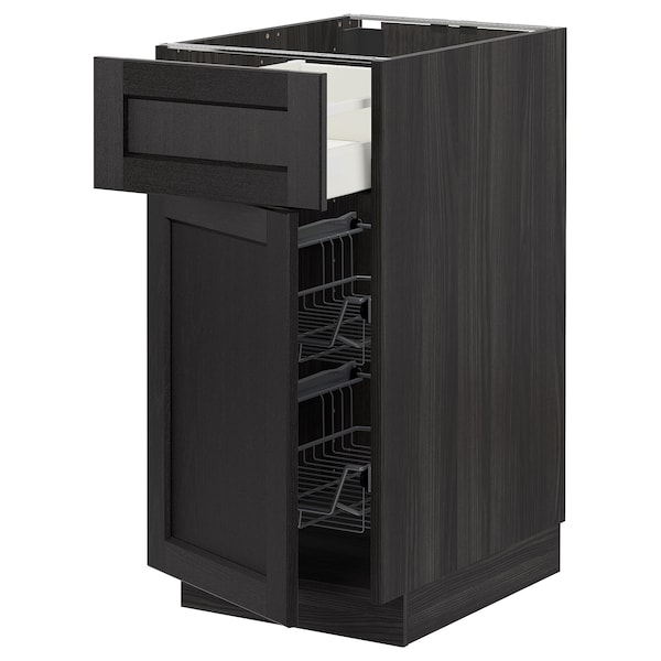METOD / MAXIMERA Base cab w wire basket/drawer/door, black/Lerhyttan black stained, 40x60 cm