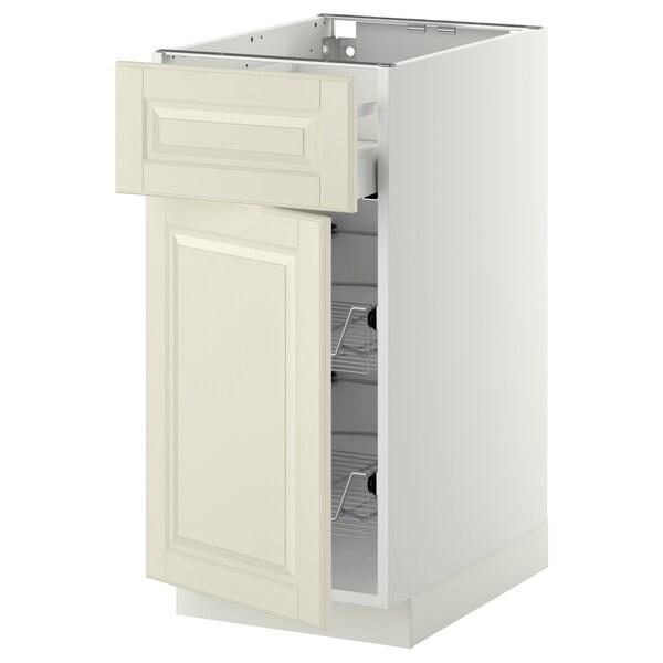 METOD / MAXIMERA Base cab w wire basket/drawer/door, white/Bodbyn off-white, 40x60 cm
