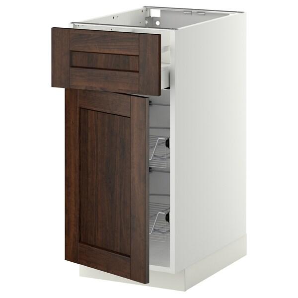 METOD / MAXIMERA Base cab w wire basket/drawer/door, white/Edserum brown, 40x60 cm