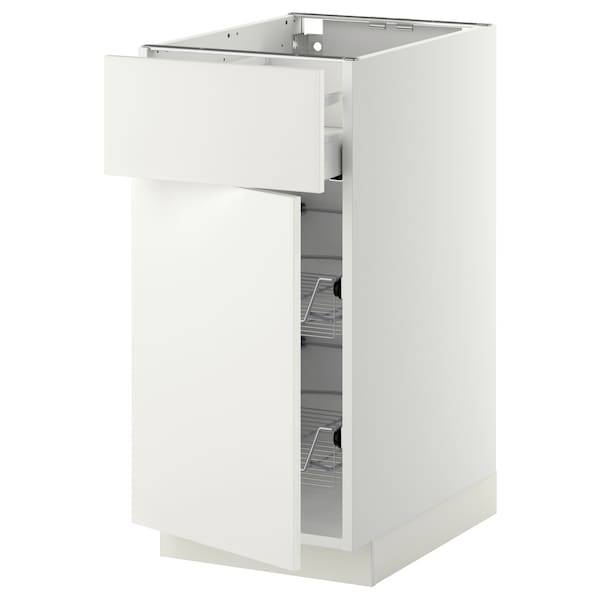 METOD / MAXIMERA Base cab w wire basket/drawer/door, white/Häggeby white, 40x60 cm
