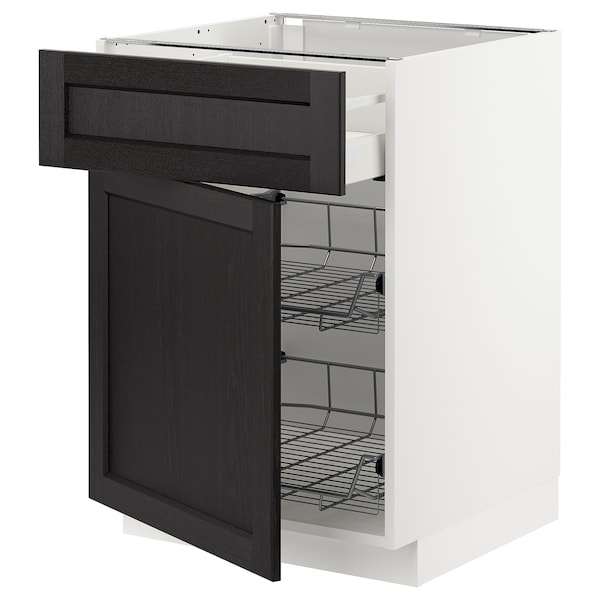METOD / MAXIMERA Base cab w wire basket/drawer/door, white/Lerhyttan black stained, 60x60 cm
