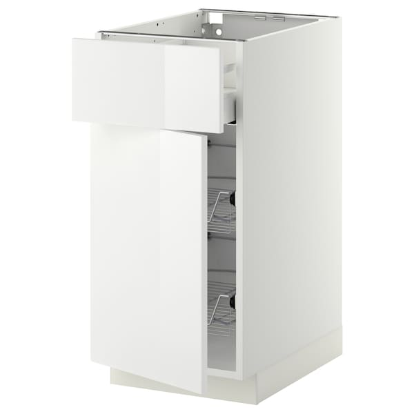 METOD / MAXIMERA Base cab w wire basket/drawer/door, white/Ringhult white, 40x60 cm