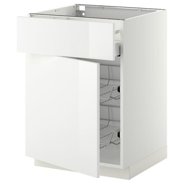 METOD / MAXIMERA Base cab w wire basket/drawer/door, white/Ringhult white, 60x60 cm