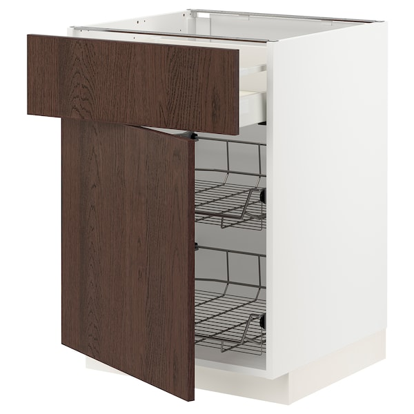 METOD / MAXIMERA Base cab w wire basket/drawer/door, white/Sinarp brown, 60x60 cm