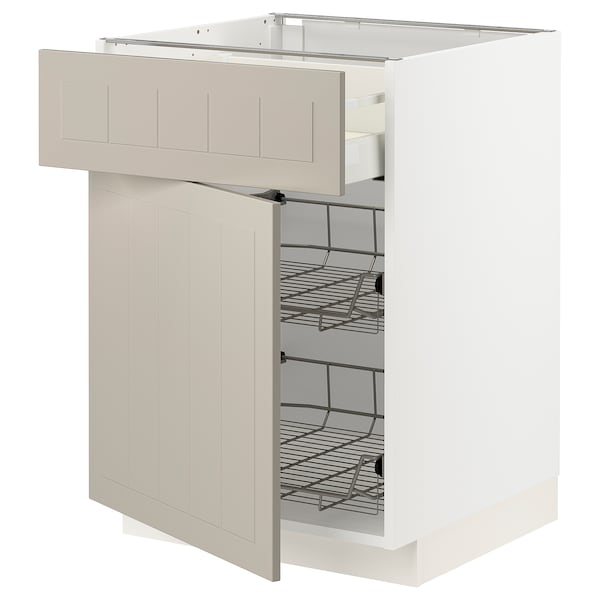 METOD / MAXIMERA Base cab w wire basket/drawer/door, white/Stensund beige, 60x60 cm