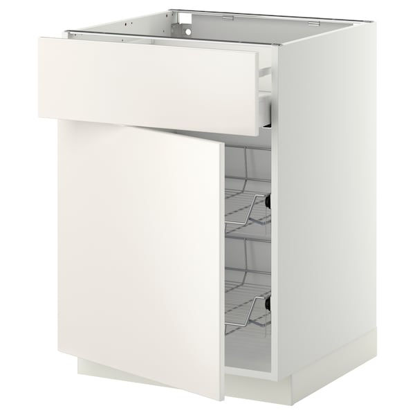 METOD / MAXIMERA Base cab w wire basket/drawer/door, white/Veddinge white, 60x60 cm