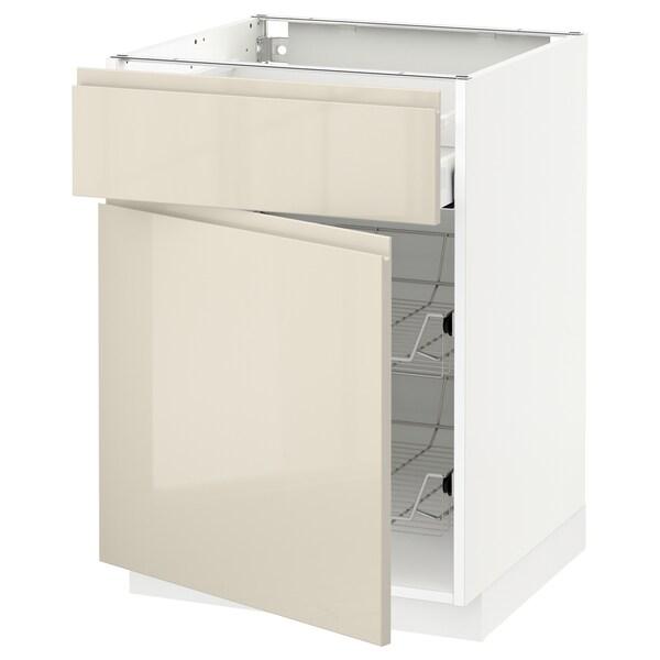 METOD / MAXIMERA Base cab w wire basket/drawer/door, white/Voxtorp high-gloss light beige, 60x60 cm