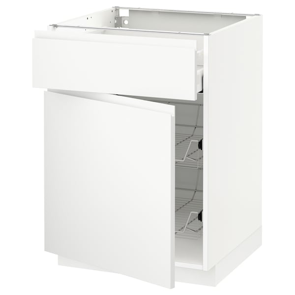 METOD / MAXIMERA Base cab w wire basket/drawer/door, white/Voxtorp matt white, 60x60 cm