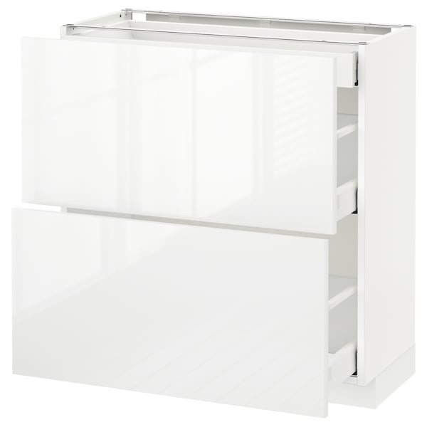 METOD / MAXIMERA Base cab with 2 fronts/3 drawers, white/Ringhult white, 80x37 cm