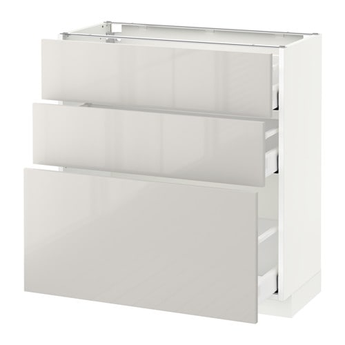 METOD / MAXIMERA Base cabinet with 3 drawers - white, Ringhult high ...